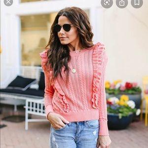 Vici coral ruffle sweater
